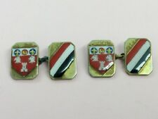 VINTAGE ROLLED GOLD & ENAMEL COAT OF ARMS CUFFLINKS 1940