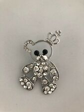 Cute Teddy Bear Clear Diamante Brooch silver metal Gift  *NEW*