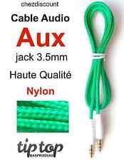 Cable Cordon Adaptateur Prise Auxiliaire Aux Jack 3.5 Nylon Tréssé Audio Stérèo
