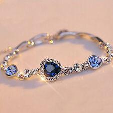 Fashion Elegant Women Blue Crystal Rhinestone Heart Charm Bangle Bracelet Gift