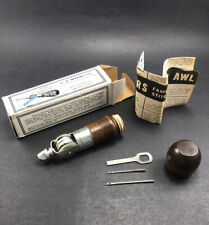 C.A. Myers Lock Stitch Sewing Awl Box Tools/Accessories in Handle Instructions