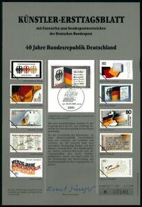 GERMANY ART-SHEET 1989/12 40 JAHRE BRD BUNDESADLER EAGLE UNISSUED DRAFTS!!
