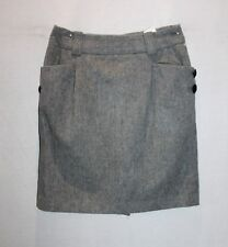 Arnaldo Bassini Brand Grey Wool Blend w Front Pockets Skirt Size S BNWT #TK42