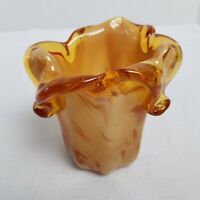 "Murano Handblown Glass Vase Amber Swirl 5"" H*Fluted ITALIAN CONTEMPORARY DESIGN"