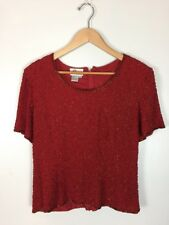 J Kara New York Beaded Red Top, Size M