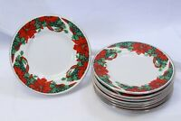 """Gibson Xmas Holly Poinsettia Ribbons Bread Plates Green Stamp 6.25"""" Lot of 8"""