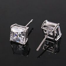 Cool Womens Punk White Gold Filled Flawless Crystal Men's Stud Earrings,Z2219