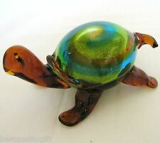 NEW BROWN+MULTI SPARKLE MURANO HAND MADE ART GLASS TURTLE FIGURINE+PAPERWEIGHT