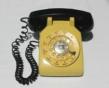 VINTAGE RETRO BELL SYSTEM WESTERN ELECTRIC YELLOW ROTARY TELEPHONE BLACK HANDSET