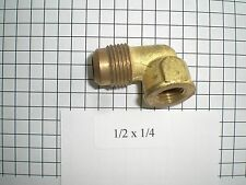 1/2 Flare by 1/4 Female Pipe 90 Elbow Brass Flare by FIP Ell Reducing Coupler