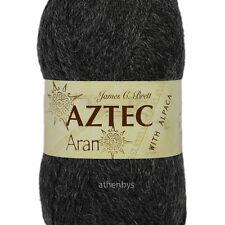 James C Brett Aztec Aran With Alpaca Knitting Wool 100g Ball - Complete Range Al11 Dark Grey