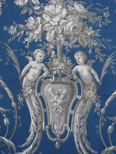 Antique French Prussian blue headboard slipcover fabric blue fabric 19th century