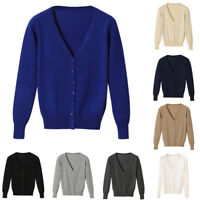 EG_ Women Short Button Down Long Sleeve V-Neck Soft Knit Sweater Cardigan Raptur