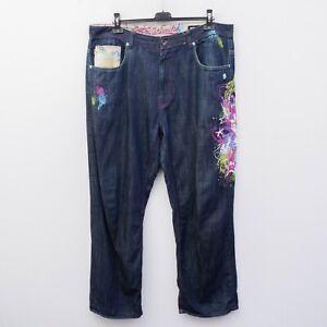 ECKO UNLTD Baggy Fit Men's W40 L33 Jeans Denim Trousers Print Relaxed Embroidery