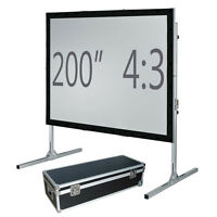 "200"" Fast fold projection screen, Front and rear, 4:3 HD Fastfold Fixed/framed"