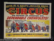 AL G. KELLY & MILLER BROS. Motorized with CHEVROLET Trucks Circus Poster