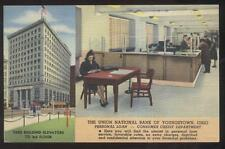 POSTCARD YOUNGSTOWN OHIO UNION NATIONAL BANK Personal Loan DEPT DUAL VIEW 1940's