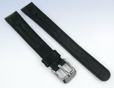 14mm Smooth BLACK Genuine LEATHER Double-Ridged Watch Strap Band
