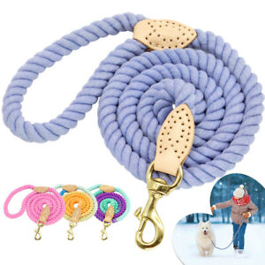5ft Strong Rope Dog Leash Braided Cotton Heavy Duty Large Dogs Walking Lead Pink