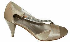 Zapatos de Novia de Satén Con Piedrecita Lateral Oro LP-00B8 37