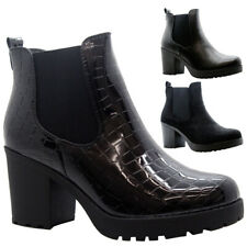Ladies Chelsea Ankle Boots Womens Chunky Sole Block Heels Punk Grunge Shoes Size