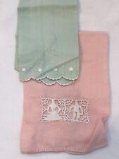 New listing vintage linen hand towels fingertip pink green 2