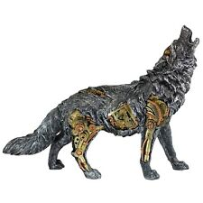 "Steampunk Wolf Figurine With Gears 13.5"" Long Detailed Resin Statue New In Box!"