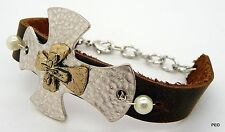 Metal Cross Leather Band Women's Bracelet Silver Gold Faux Pearl New Bracelets