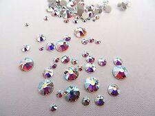 144 Clear Crystal AB Swarovski Flatback Rhinestone Mixed Sizes 5ss-30ss Nail Art