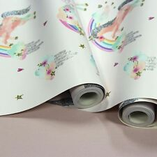 RAINBOW UNICORN GLITTER WALLPAPER WHITE - ARTHOUSE 696109 GIRLS NEW