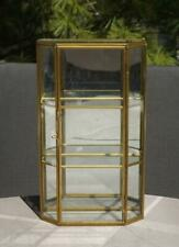 "Vintage Brass Glass Curio Display Case Cabinet 3 Tier 9.5"" Tall EXC"