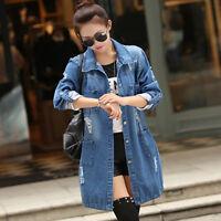 Fashion Women Denim Jacket Casual Long Sleeve Jeans Coat Outwear Spring Oversize