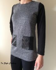 "ANNIE"" BLACK GREY KNITTED TUNIC DRESS TOP SIZE 8 QUILTED POCKETS WINTER AUTUMN"