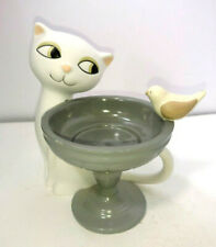 Partylite Garden Diva Tealight Holder Cat Bird Birdbath