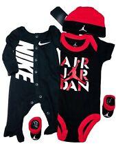 NIKE/Air JORDAN Baby Boys 4-pc GIFT SET: Jumpsuit, Bodysuit, Cap & Booties. 0-6M