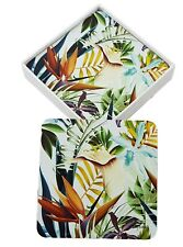 Coasters Flowers Leaves Vibrant Colours Glossy Scuff Resistant Dining Set/6