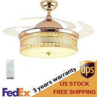 """Luxury Crystal Chandelier 42"""" Invisible Ceiling Fan LED Light Remote Gold"""