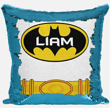 Personalised Batman Design Any Name Magic Reveal Blue Sequin Cushion Cover 2