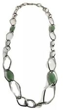 """Qvc Simona Collini Stainless Steel 36"""" Marquise Green Aventurine Gems Necklace"""