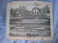 SUPERB ANTIQUE 1878 BELMAR NEW JERSEY LITHOGRAPH PRINT VICTORIAN HOTEL BOAT NR