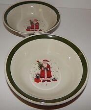 Christmas Holiday Santa Claus Present Tree Dessert Bowls Green Rim Stoneware