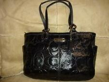 COACH ~ BLACK Signature Embossed Patent Leather East West GALLERY TOTE 19462