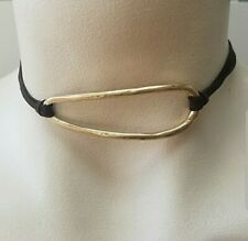 Treasure & Bond Gold Tone Oval Leather Pendant Choker