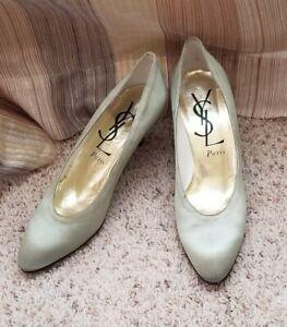 YSL Saint Laurent Shoes Vintage Women's size 8 S Greenish Gold low heel