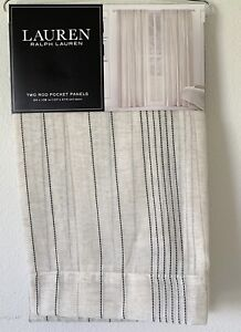Ralph Lauren OPHELIA Linen Window Curtains 54 x 108 Sheer Black Tan 2 Panels NEW
