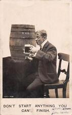 RPPC COMIC DRINKING BEER ALCOHOL MILITARY BAND STUDIO PHOTO POSTCARD 1907
