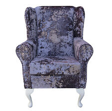 Small Westoe Wing Back Fireside Armchair Orthopaedic in a Lavender Lustro Fabric