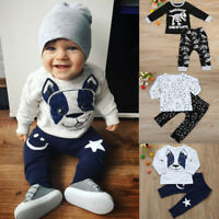 2PCS Newborn Toddler Baby Boys Tops T-shirt+Long Pants Casual Outfit Clothes Set