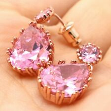 Vintage 4 Ct Pink Sapphire Earring Women Wedding Engagement Birthday Jewelry