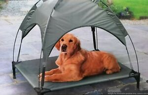 Raised Dog Bed With Canopy Sun Protector Pet Bed Outdoor Waterproof - Cool Grey